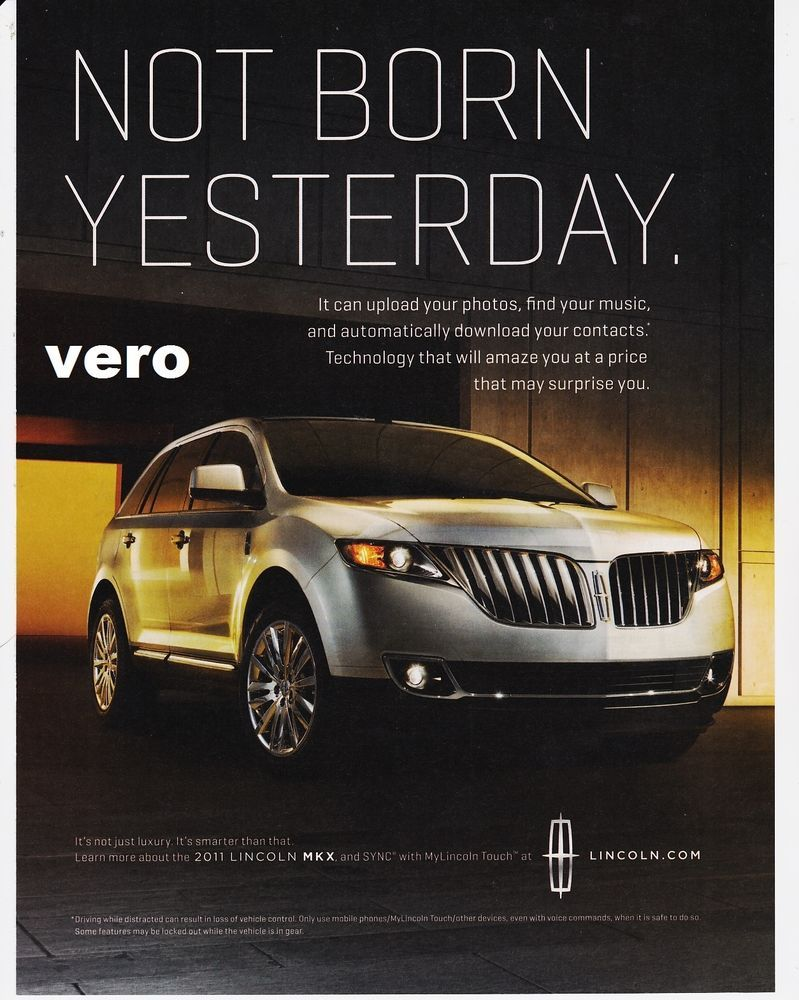 lincoln mkx 2011 magazine ad print art clipping car automobile advertisement for sale. Black Bedroom Furniture Sets. Home Design Ideas