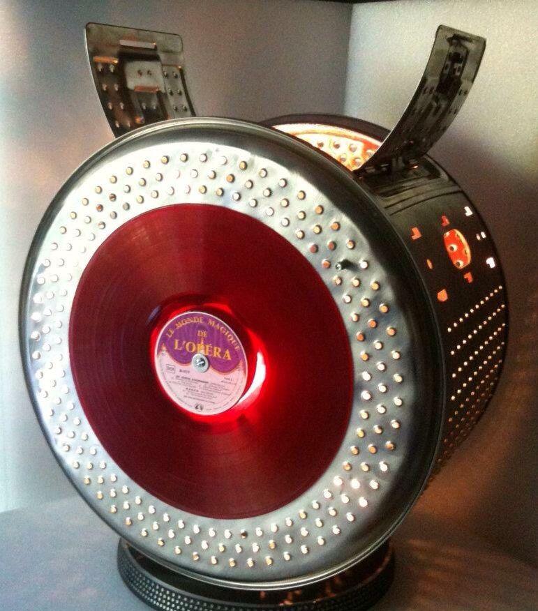 Lampe cr e partir d 39 un tambour de machine laver et d 39 un vinyle recycl s tambour de - Meuble tambour machine a laver ...