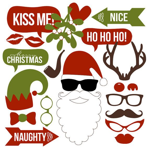 christmas photo booth props collection printable instant download
