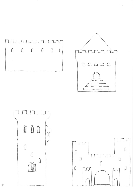 Ausmalbild Ausschneidevorlagen kleine Ritterburg