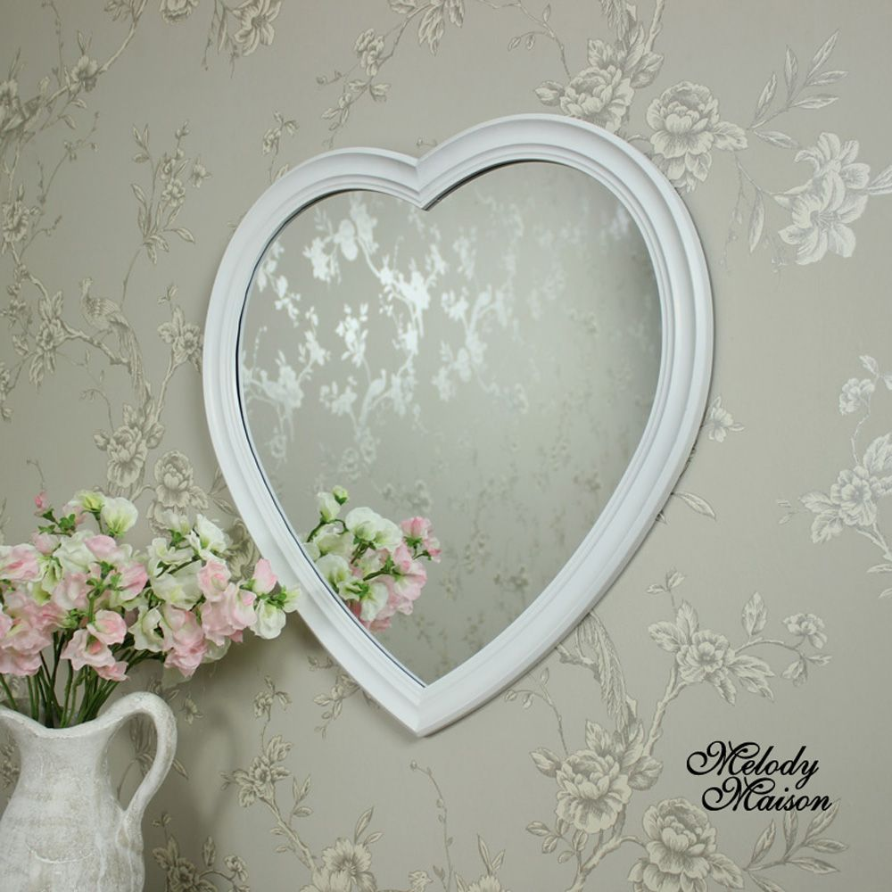 Wall Mounted Large White Heart Mirror A Shaped With Bevelled Frame Gorgeous In Shape Design This Would