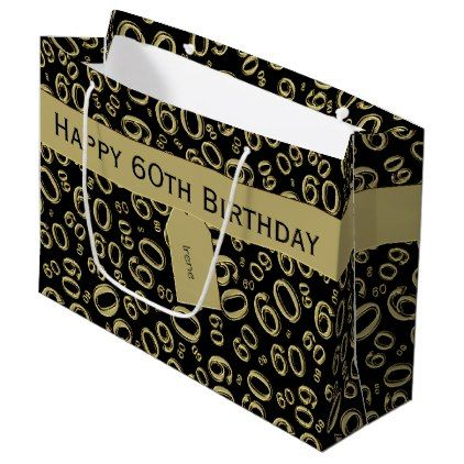 Personalize 60th Birthday Gold Black Theme Large Gift Bag