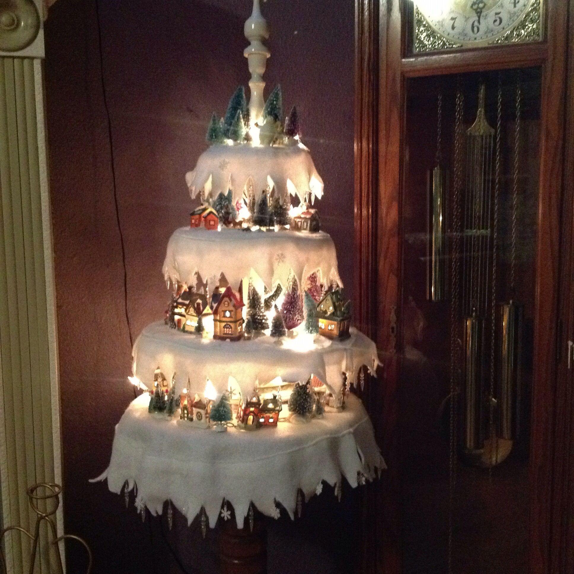 Miniature Village Christmas Tree. Neat Way To Display