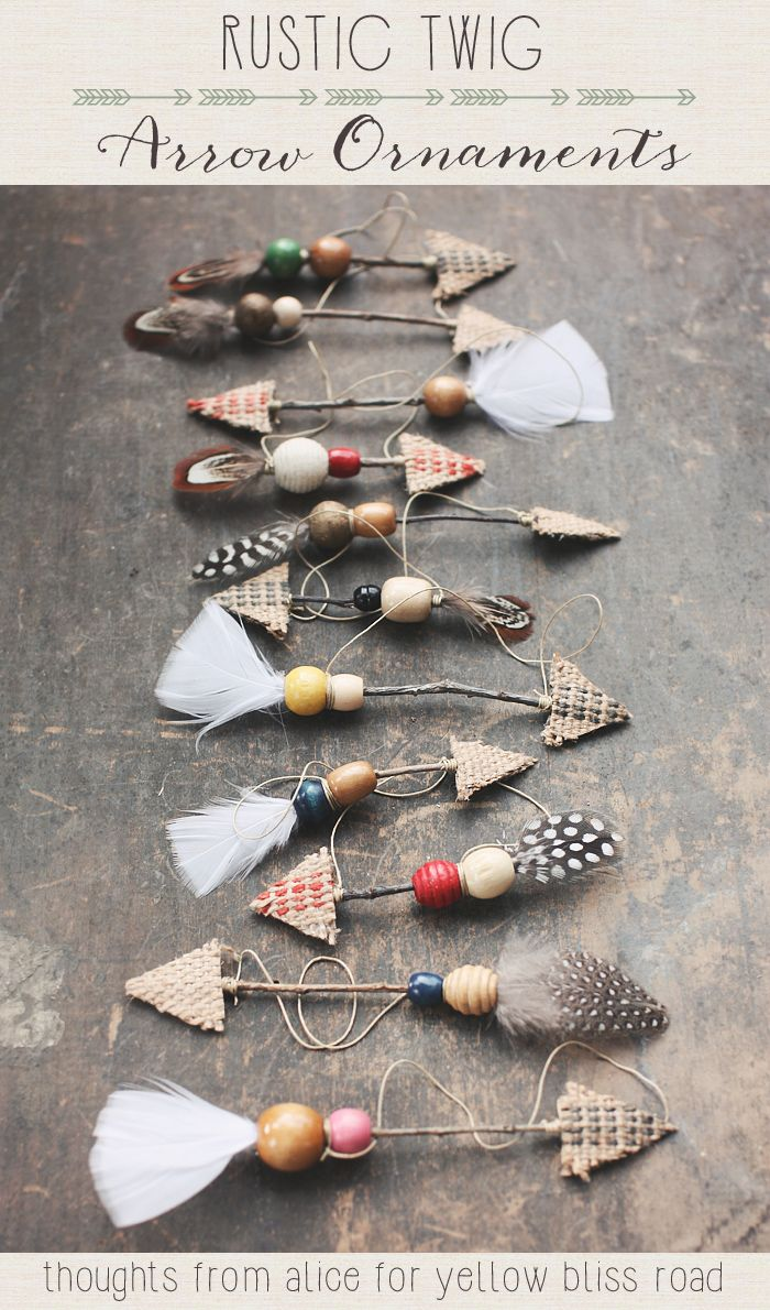 Handmade Rustic Twig Arrow Ornaments.  Pinned by Afloral.com from http://www.yellowblissroad.com/handmade-christmas-ornaments-rustic-twig-arrows/ ~Afloral.com has feathers and jute ribbon to DIY this project