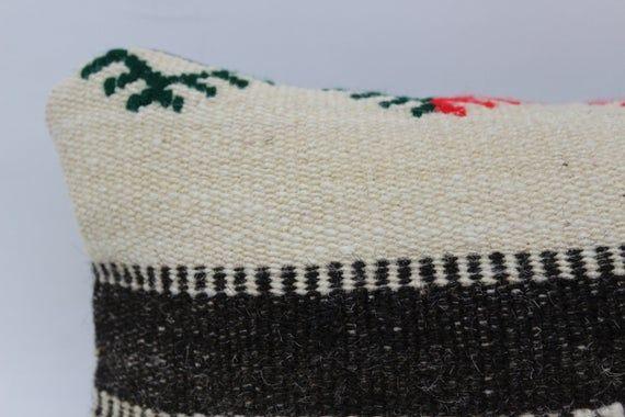 Turkish Kilim Pillow, 8x16 Organic Pillow, Lumbar Pillow Covers, Black Pillow, Patterned Pillow, Han
