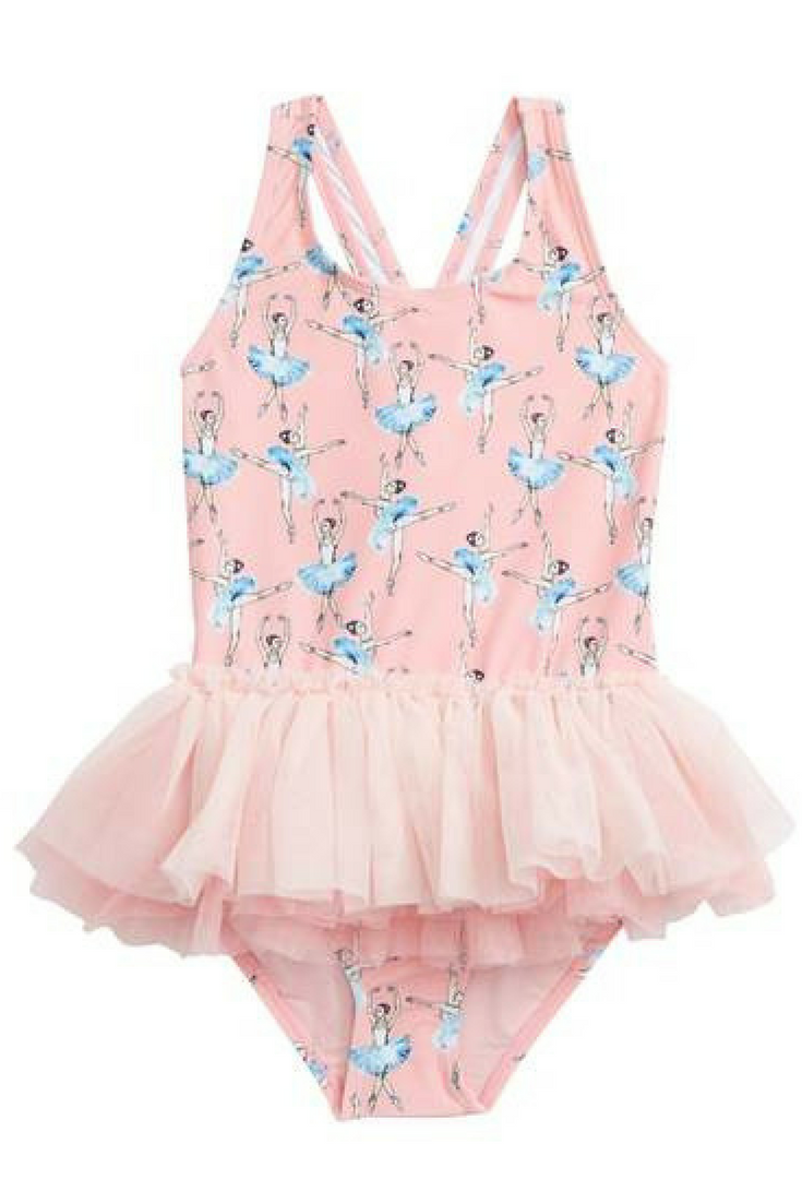 f9730f232c380 Ballerina One Piece Bathing Suit with the Tulle, how cute | #ad  #RockYourKid #BasqueBallerinas #OnePieceSwimsuit #Toddlers #LitttleGirls