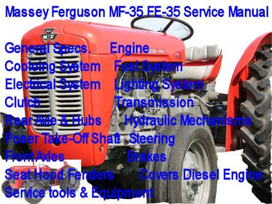 Massey Ferguson Mf 35 Fe 35 Service Manual Mf 35 Fe 35 Fender Covers Manual Massey Ferguson