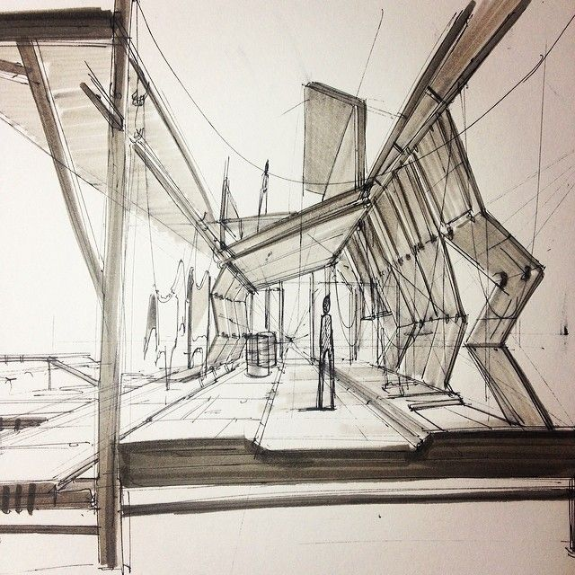 tannery interior sketch drawing architecture pinterest