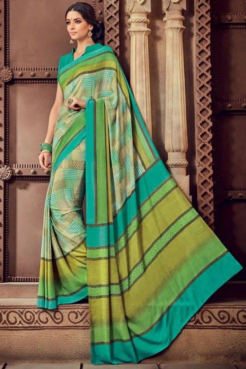 e818d680ee074 Designer Green Crepe Saree With Crepe Blouse Green crepe printed saree with  green crepe blouse.