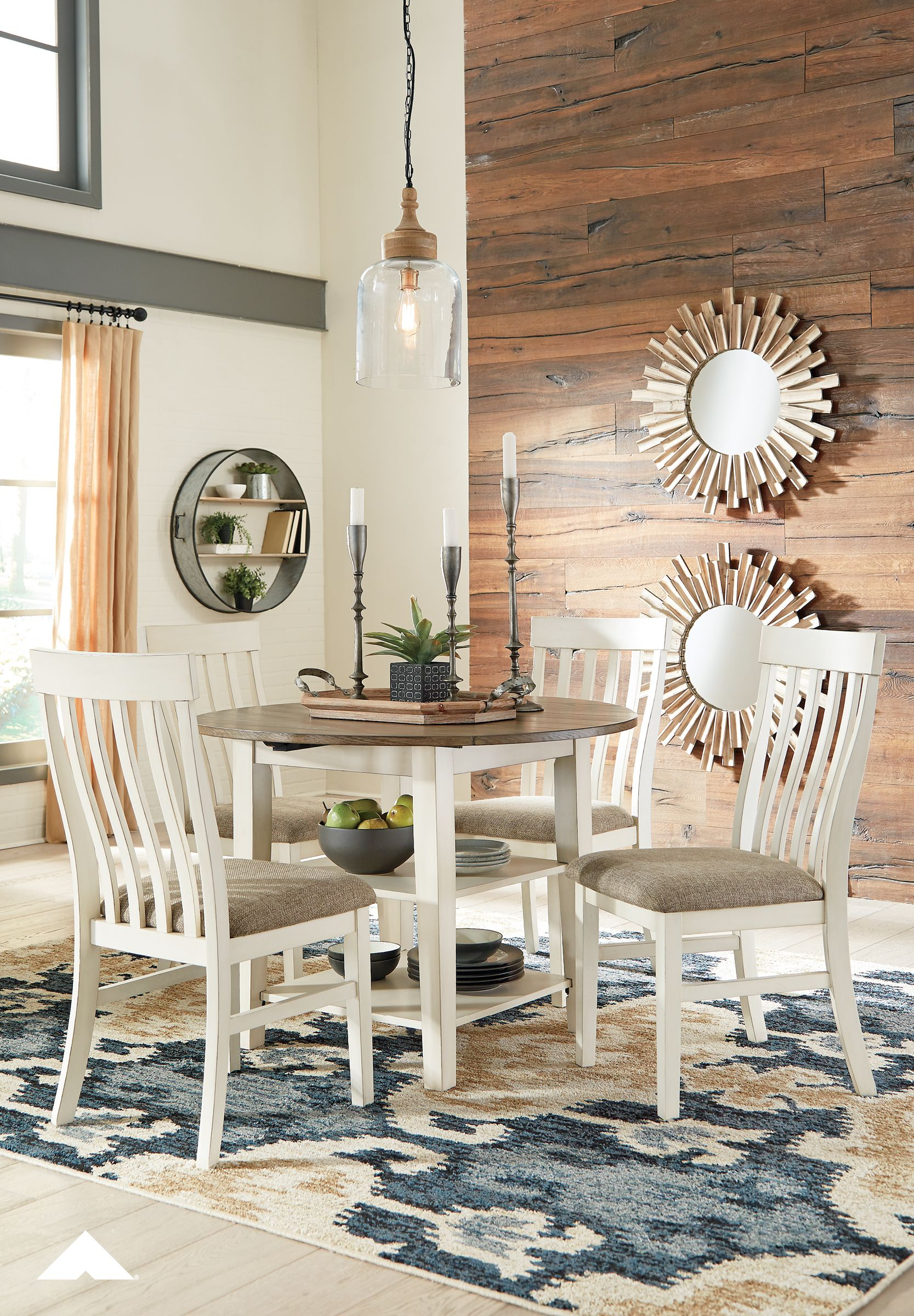 Bardilyn antique whitebrown dropleaf dining table and 4