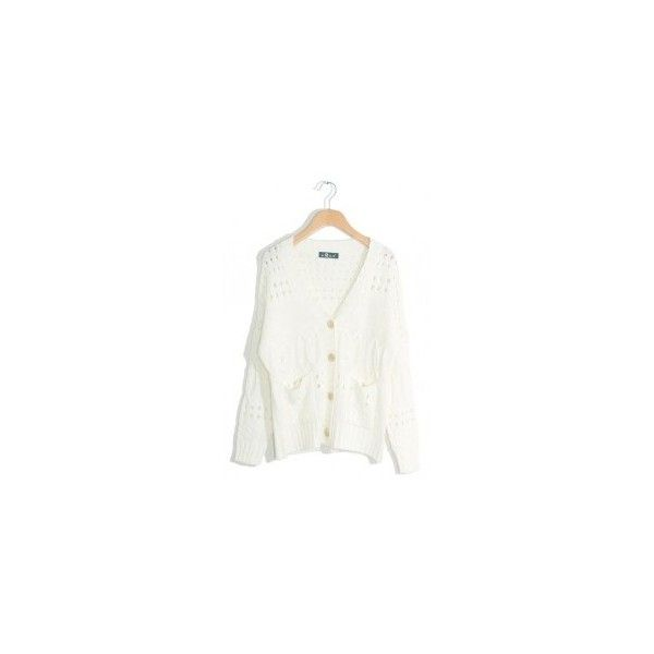 White hollow single-breasted cardigan ($55) via Polyvore