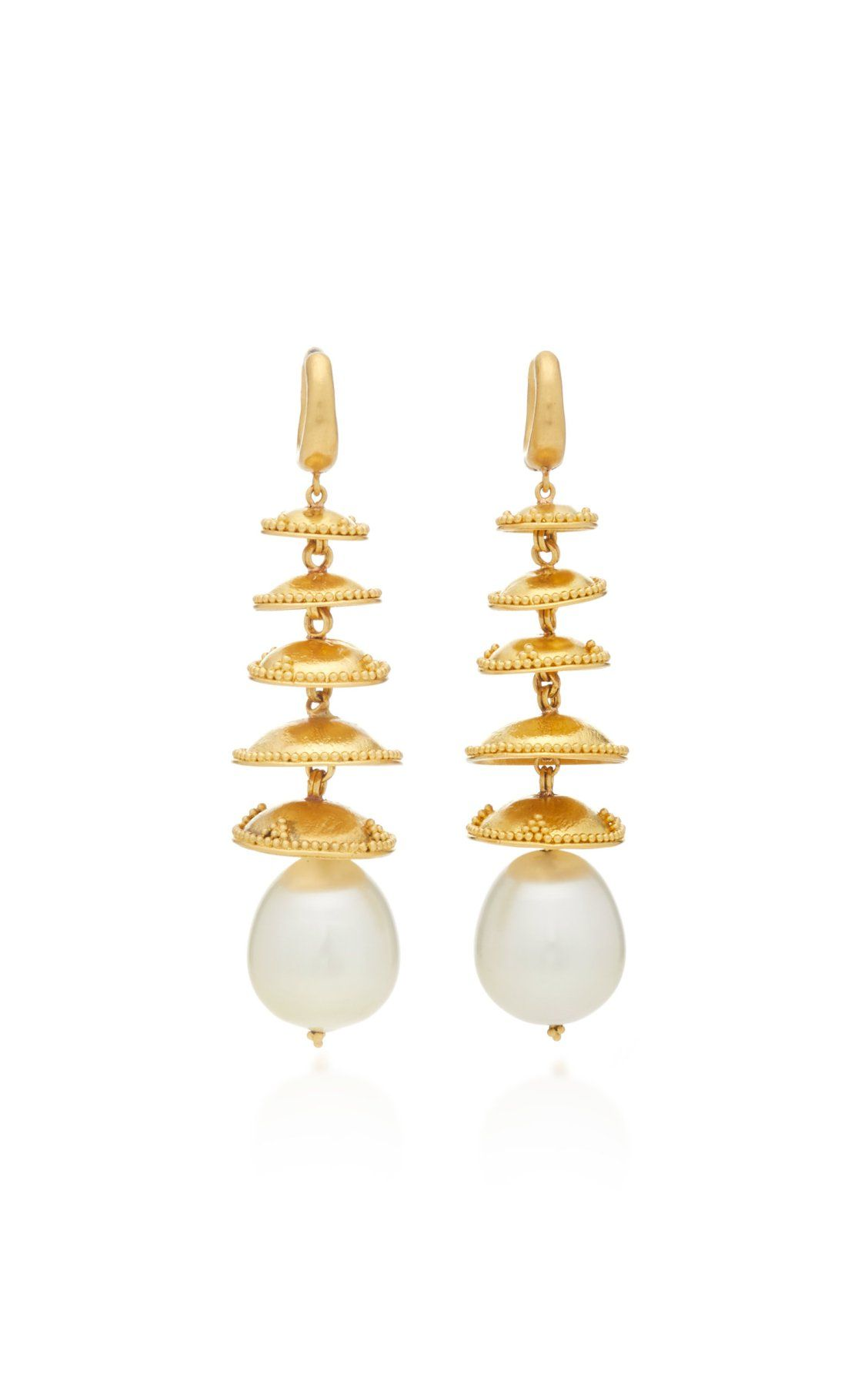 One Of A Kind South Sea Pearl Pagoda Earrings By Prounis Ss19