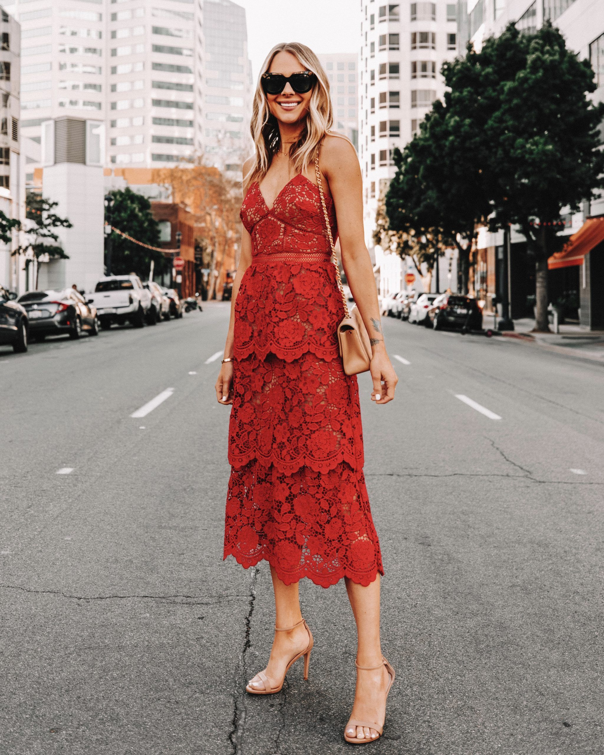 Self Portrait Flower Lace Midi Dress Red Wedding Guest Dress Spring Wedding In 2020 Cocktail Dress Wedding Guest Cocktail Dress Wedding Dresses To Wear To A Wedding
