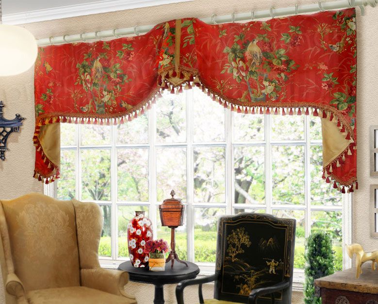 extra wide flat swag valance on rings valances - Valances For Living Room