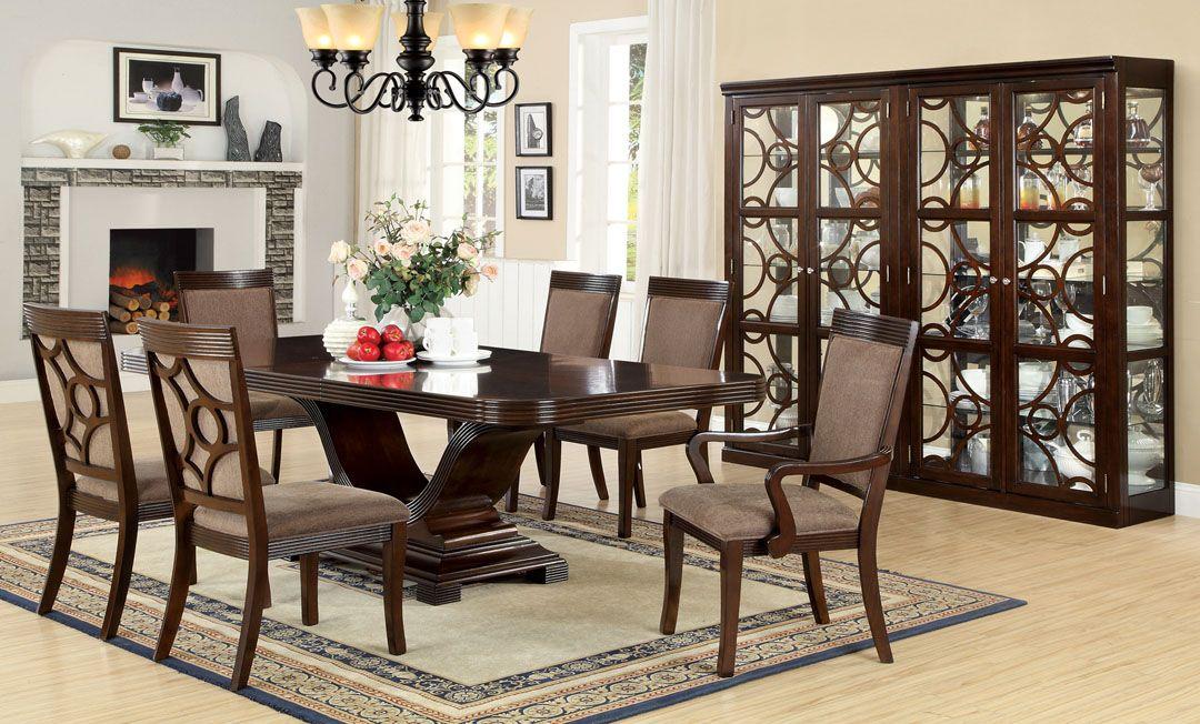 Furniture U0026 Design :: Dining Room Furniture :: Dining Table Sets :: Walnut  Finish :: 7 Pc Woodmont Walnut Finish Wood Contemporary Formal Style  Pedestal ...