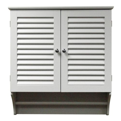 Wall Mounted Bathroom Cabinet with Shelves and Towel Bar in White ...