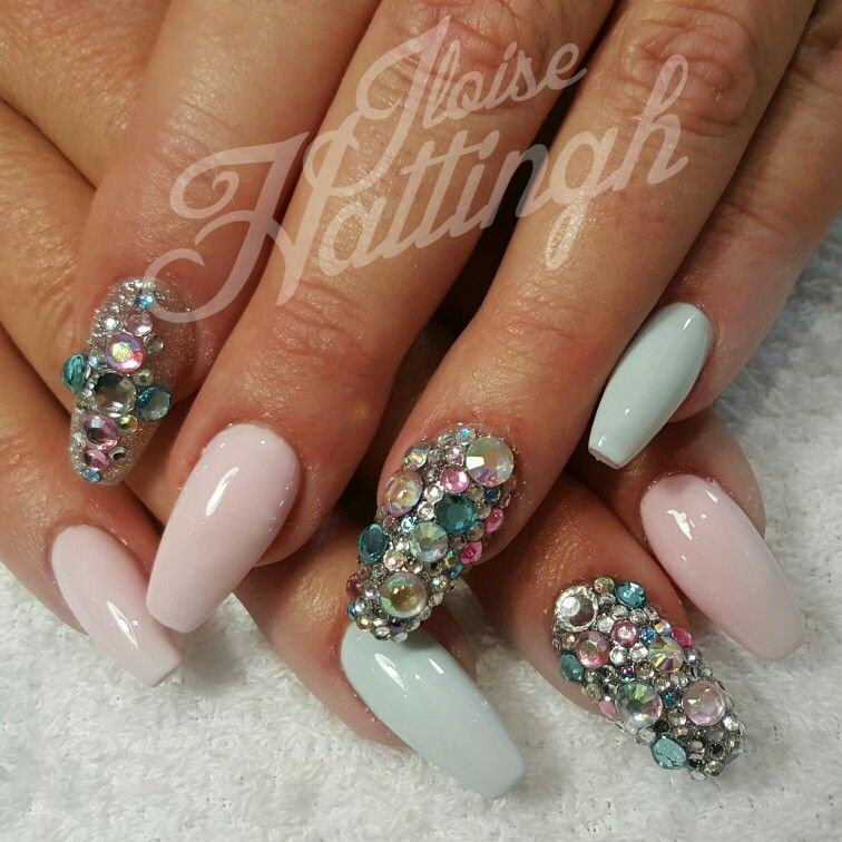 Baby pink and blue nails. | Iloise Hattingh Nails | Pinterest | Blue ...
