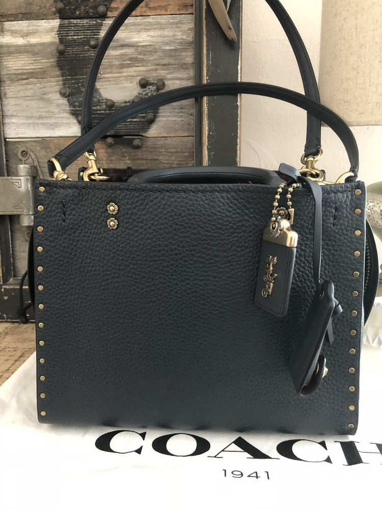 Coach 1941 Rogue 25 Midnight Navy Brass Border Rivets NWT Never Used ... b67f6c0a527f3
