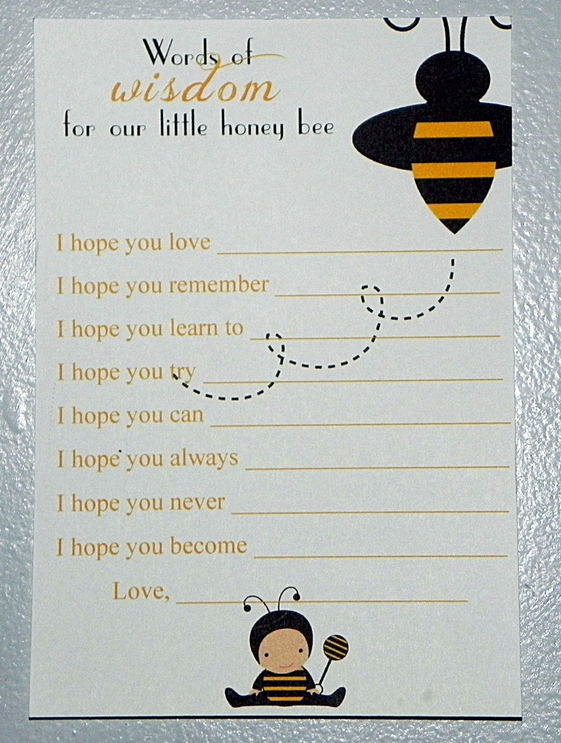 PRINTABLE Bumble Bee Baby Shower Wishes and Advice Cards. $8.00, via Etsy.
