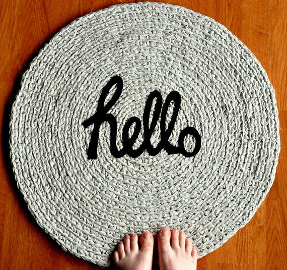 Fun fabric crochet mat