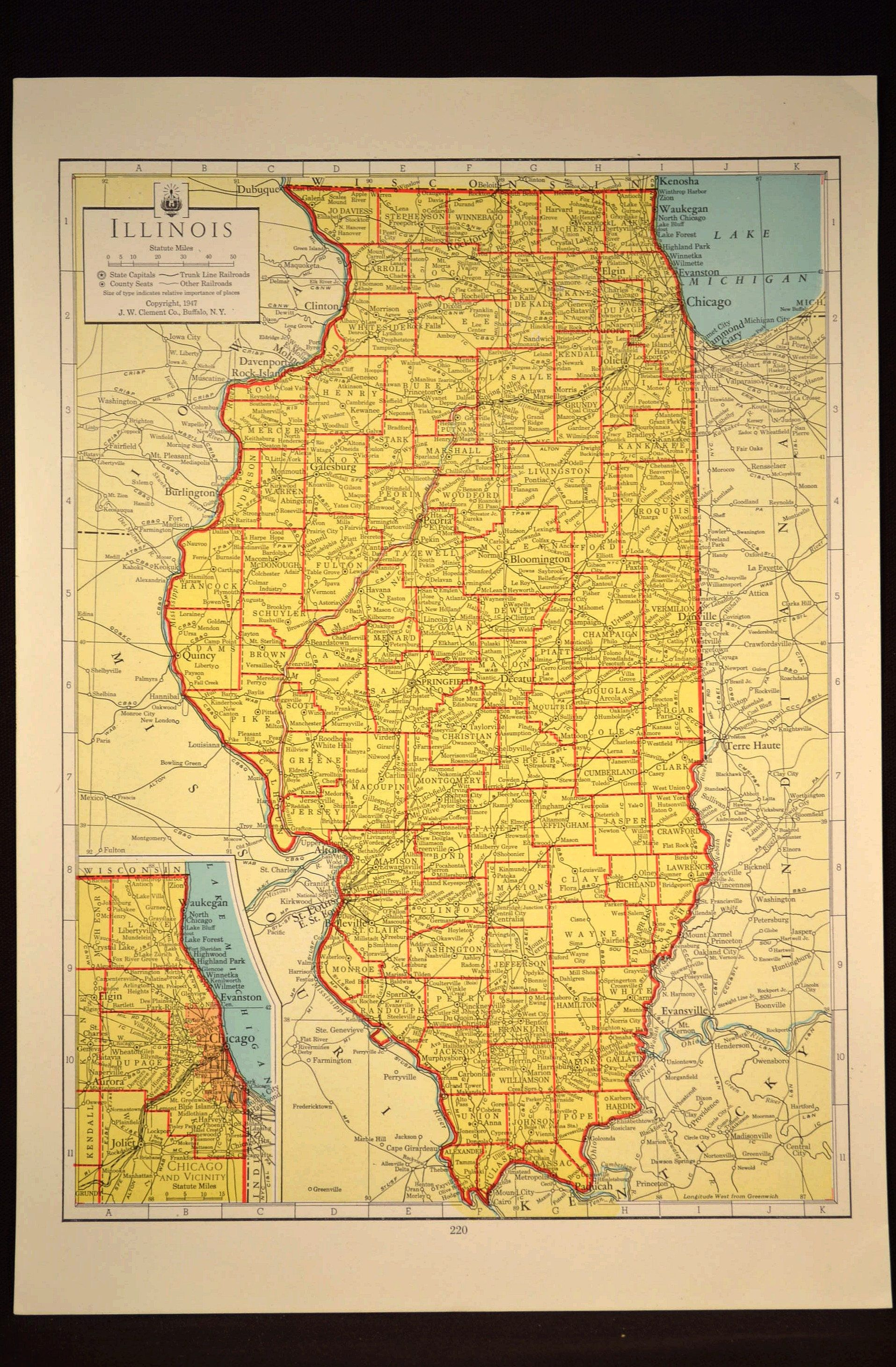 Colorful Yellow Vintage Illinois Map Illinois Wall Art Colored | Map ...