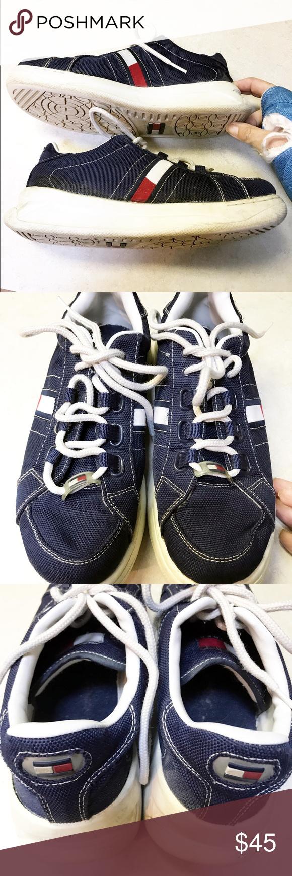 ca7c978ecc7310 VTG Tommy Hilfiger 8 platform canvas sneaker 90s VTG Tommy Hilfiger size 8  canvas platform sneaker
