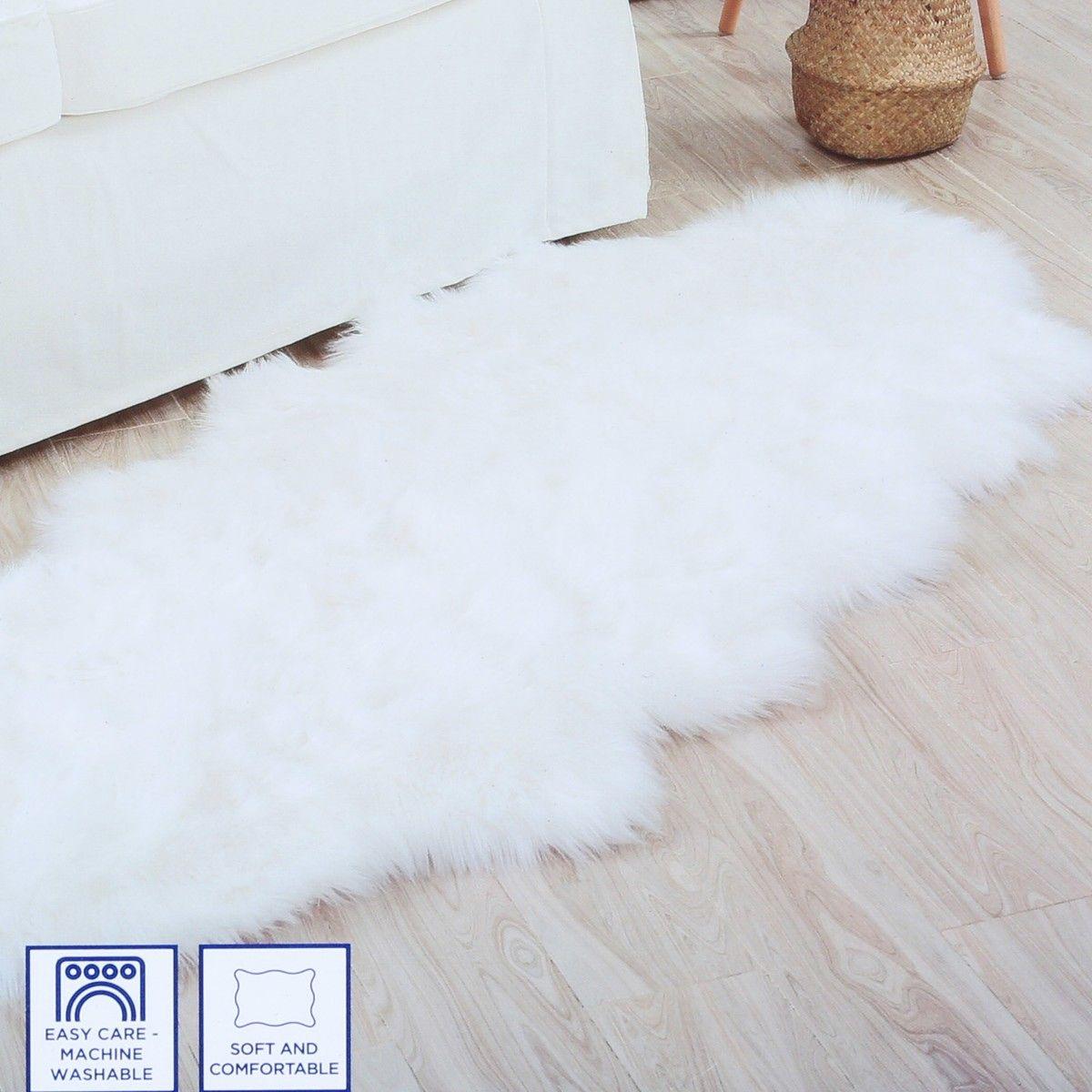 House Home Faux Fur Rug White
