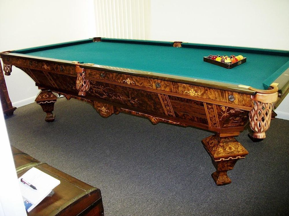 Awesome Antique Brunswick Brilliant Novelty Pool Table With Custom Made Cue Rack