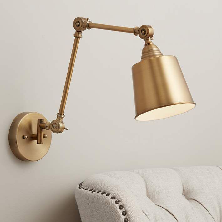 Mendes Antique Brass Down Light Hardwire Wall Lamp 35c91 Lamps Plus Wall Lamps Bedroom Swing Arm Wall Lamps Wall Lamp