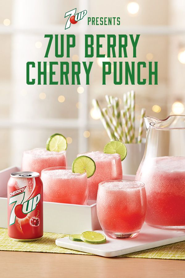 7UP Berry Cherry Punch #alcoholpunchrecipes