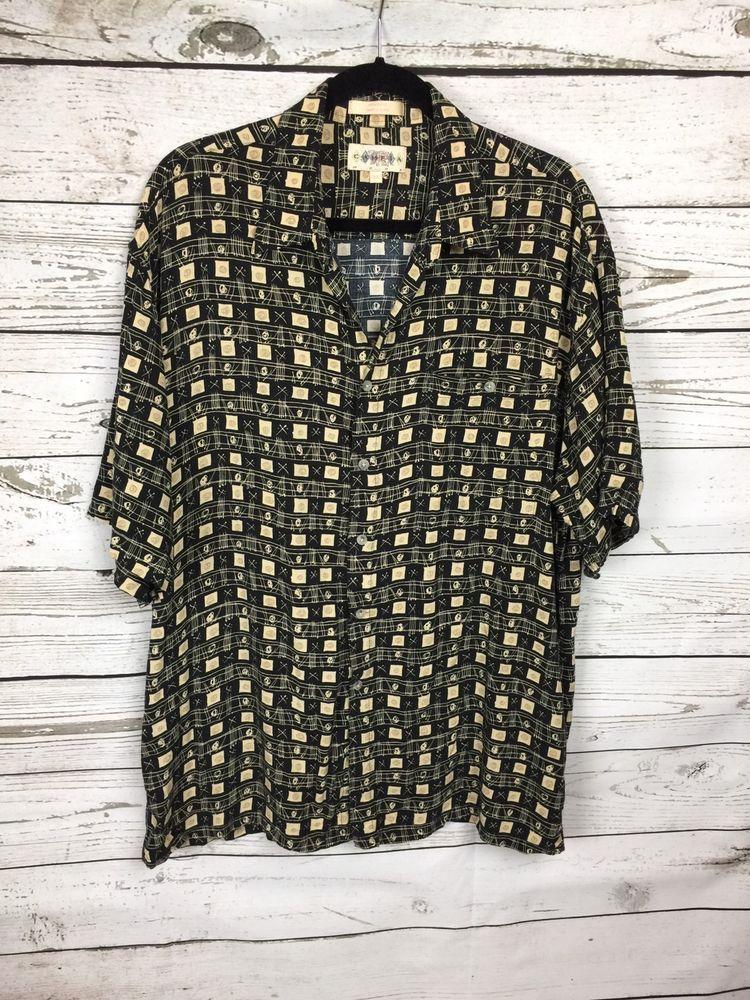 e748f064e Campia Moda Mens Hawaiian Shirt XL Black and Tan Design 100% Rayon  #CampiaModa #Hawaiian