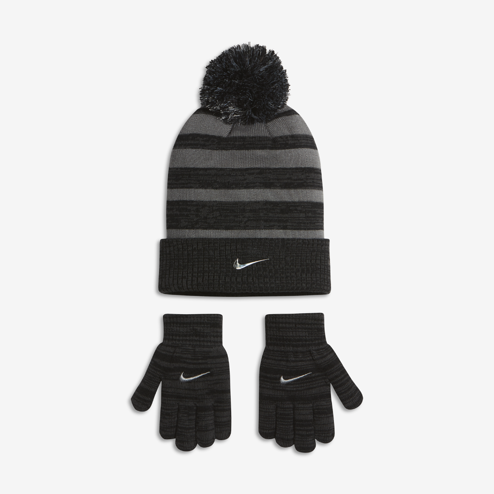 417ea5a4496 Nike Heather Stripe Kids  Knit Hat and Gloves Set (Cool)