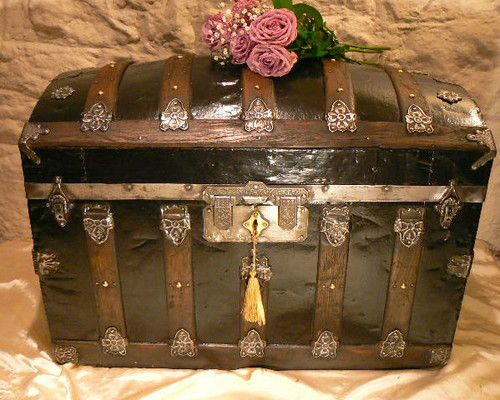 Vintage Domed Chest Trunk Captains Chest Restored,Brass ...