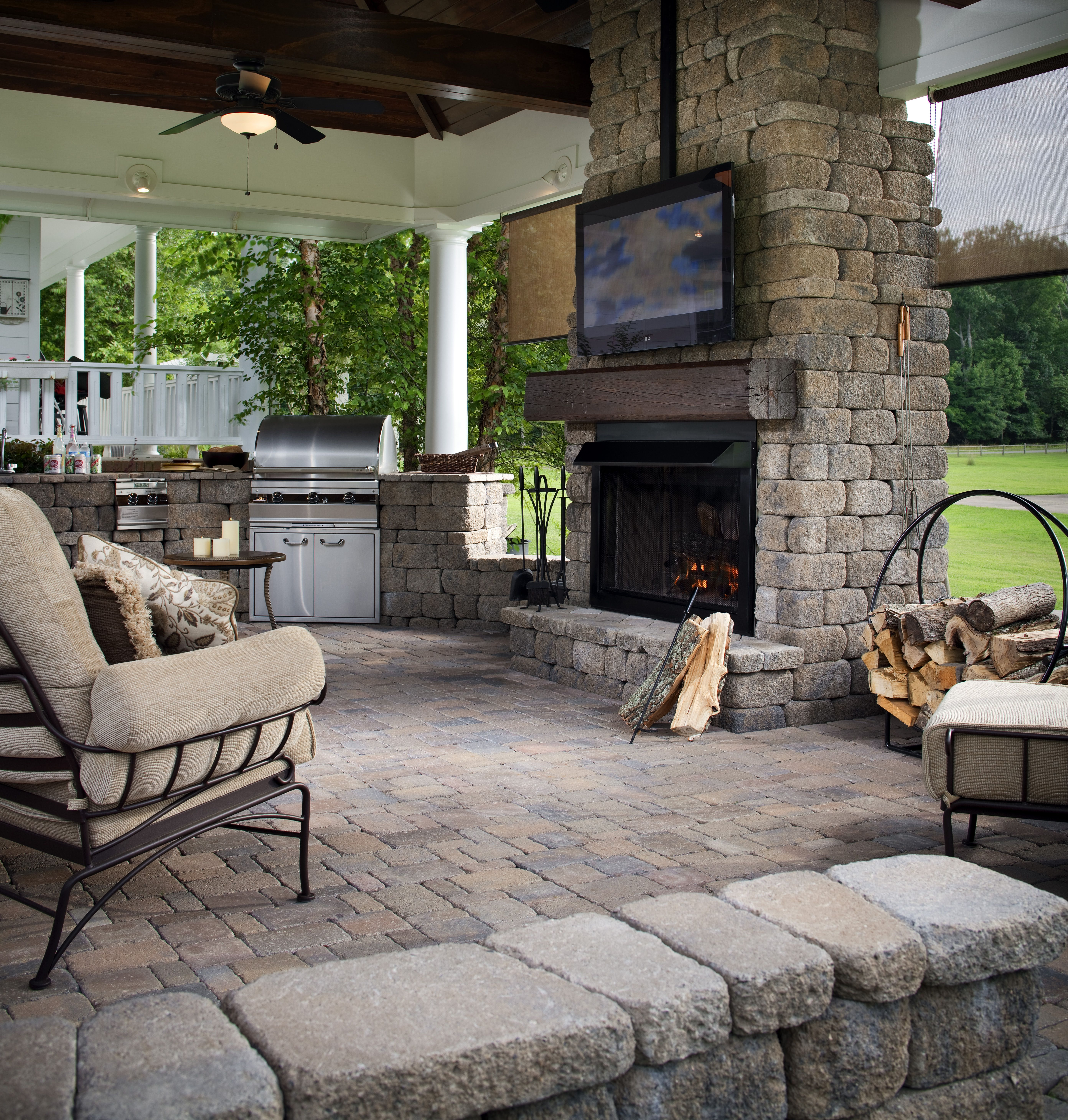 Covered Backyard Space Designs: Beautiful Keystone Country Manor Outdoor Fireplace