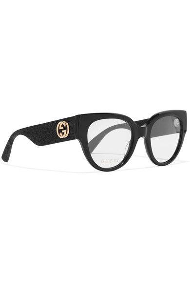 889707a811 Gucci - Cat-eye Glittered Acetate Optical Glasses - Black - one size ...