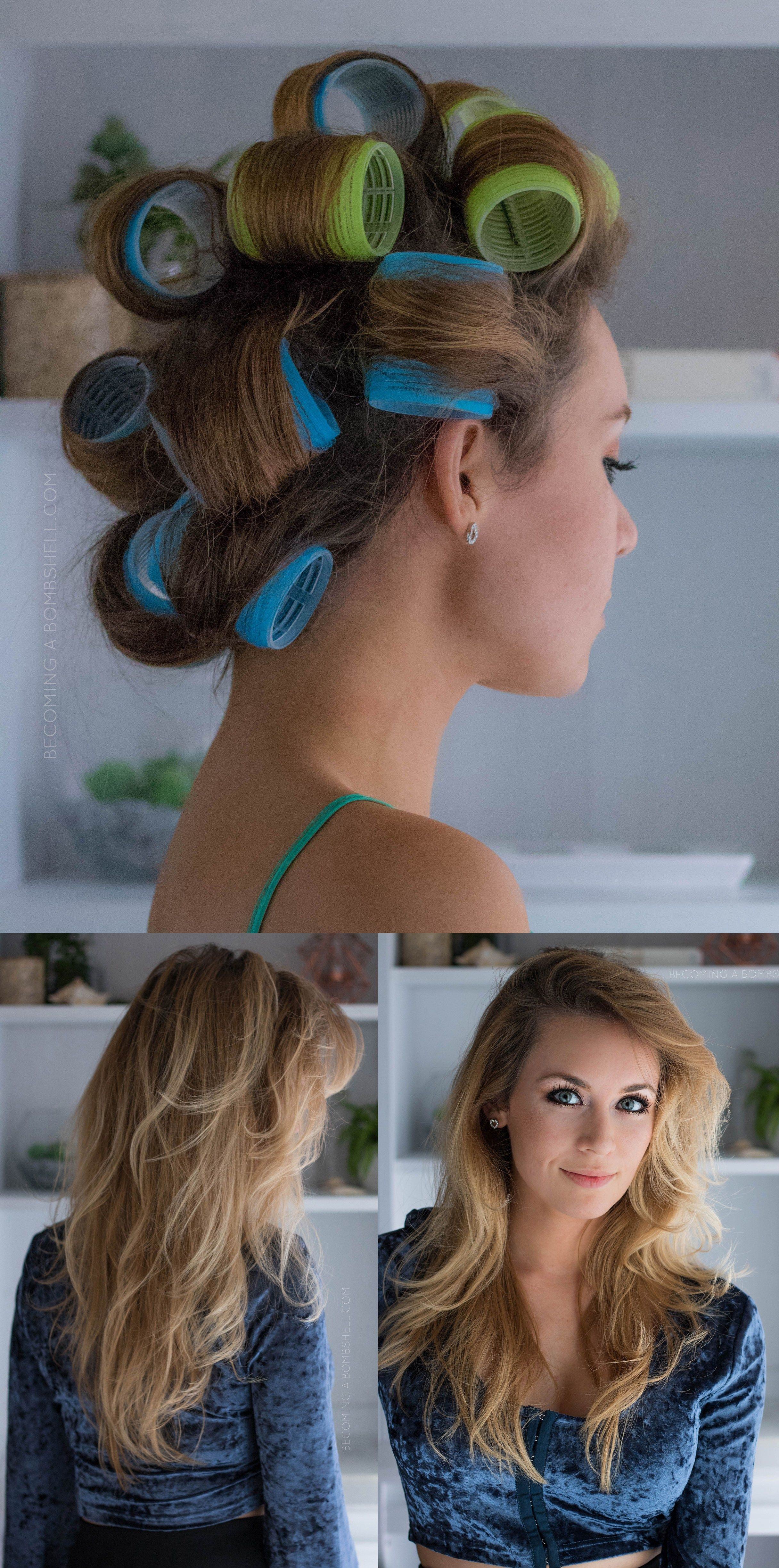 How To Use Velcro Rollers For Voluminous Hair Becoming A Bombshell Heat Free Hairstyles Thin Fine Hair Bombshell Curls