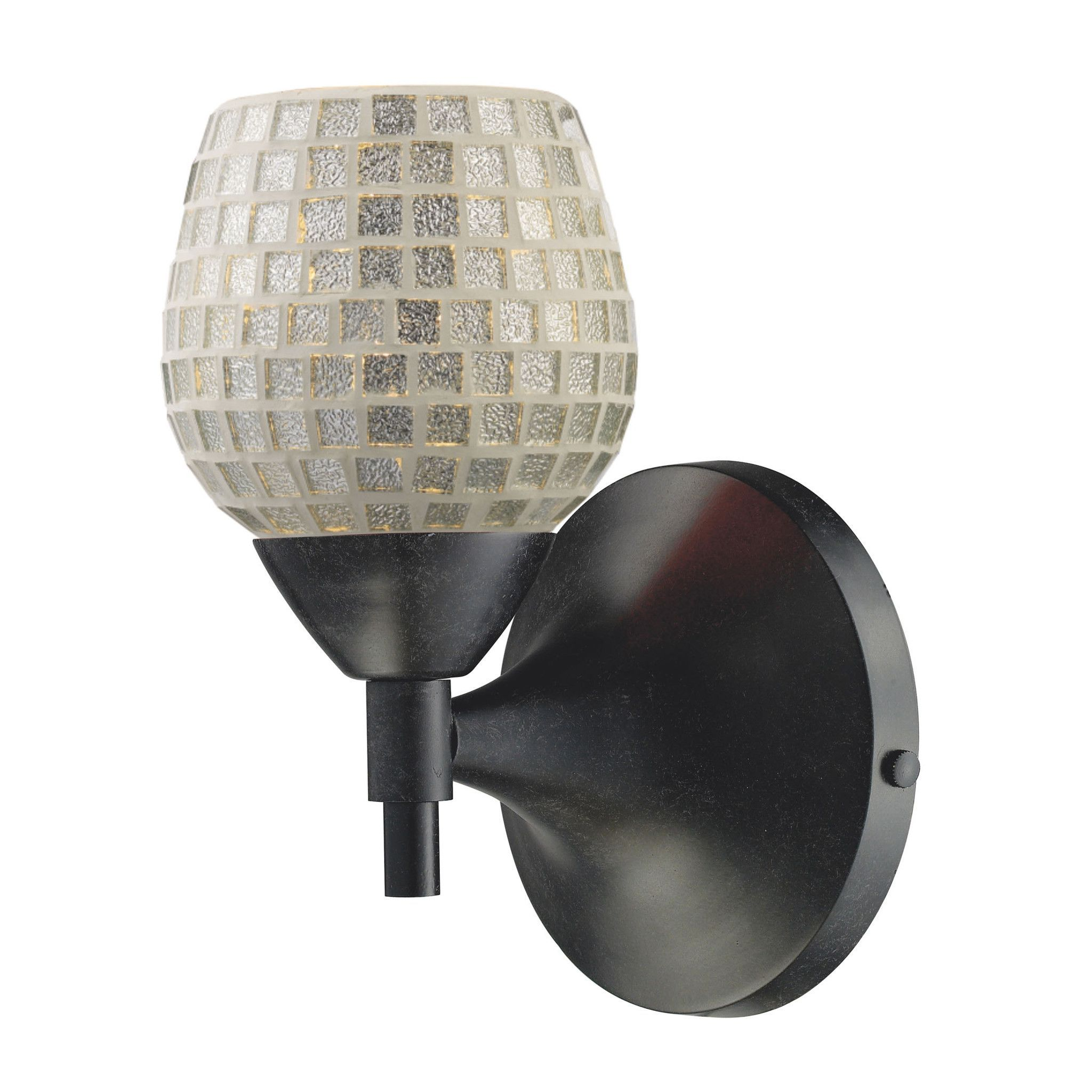 Celina 1 Light Sconce In Dark Rust And Silver Glass