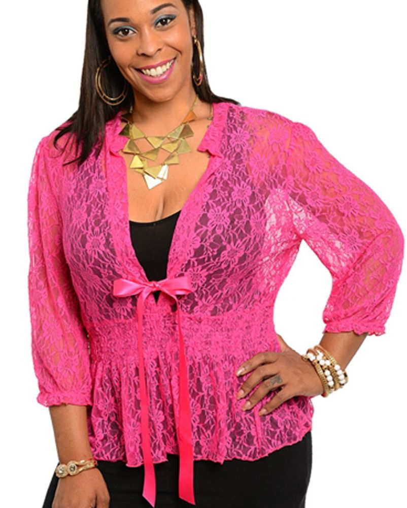 New Fuchsia Pink Smocked Stretch Lace Blouse Top Plus Size 1X 2X ...