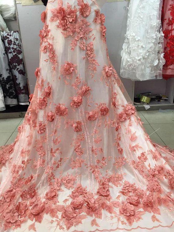 3D Pearl Blossom Flower lace Fabric Blush Rhinestone Lace Mesh Embroidery  Gauze 51   Width for Wedd dbab73f41fb1