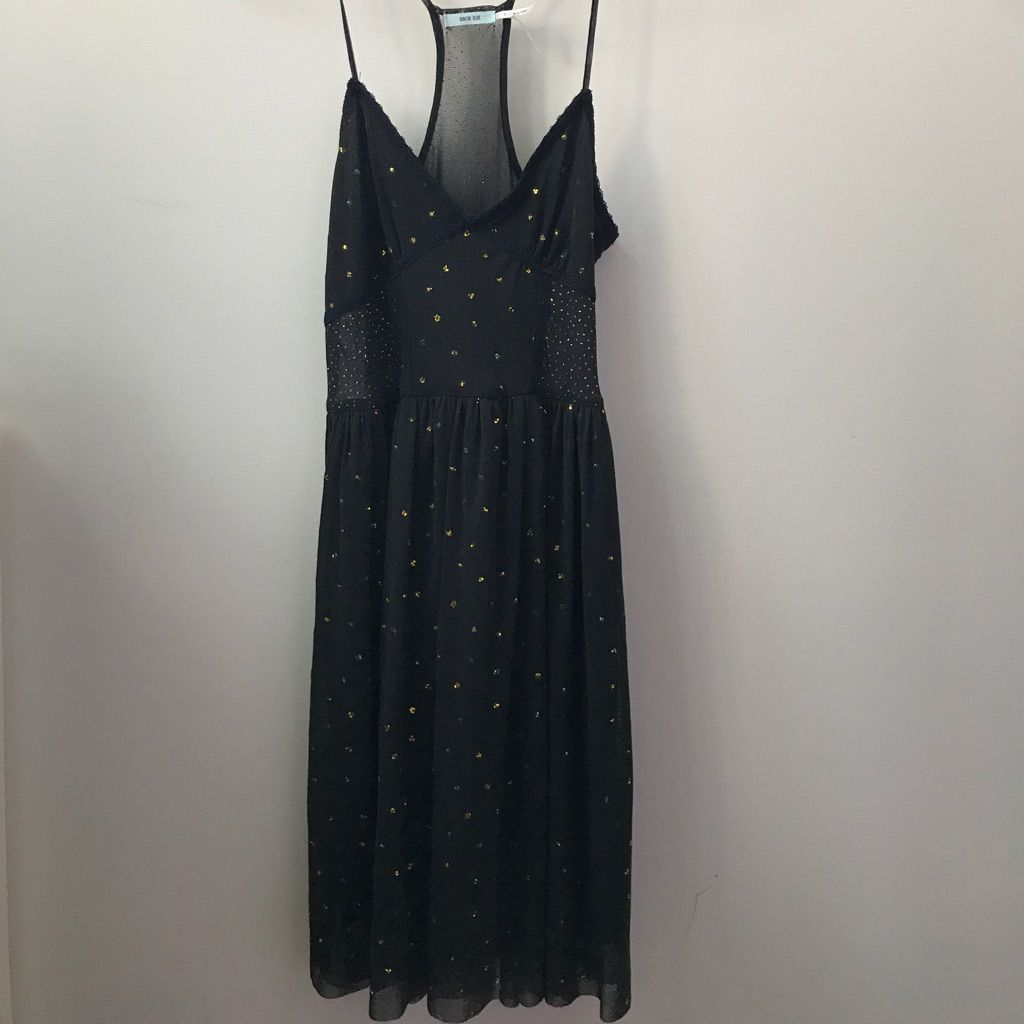Strappy black flowy dress with gold sparkle detail gold sparkle