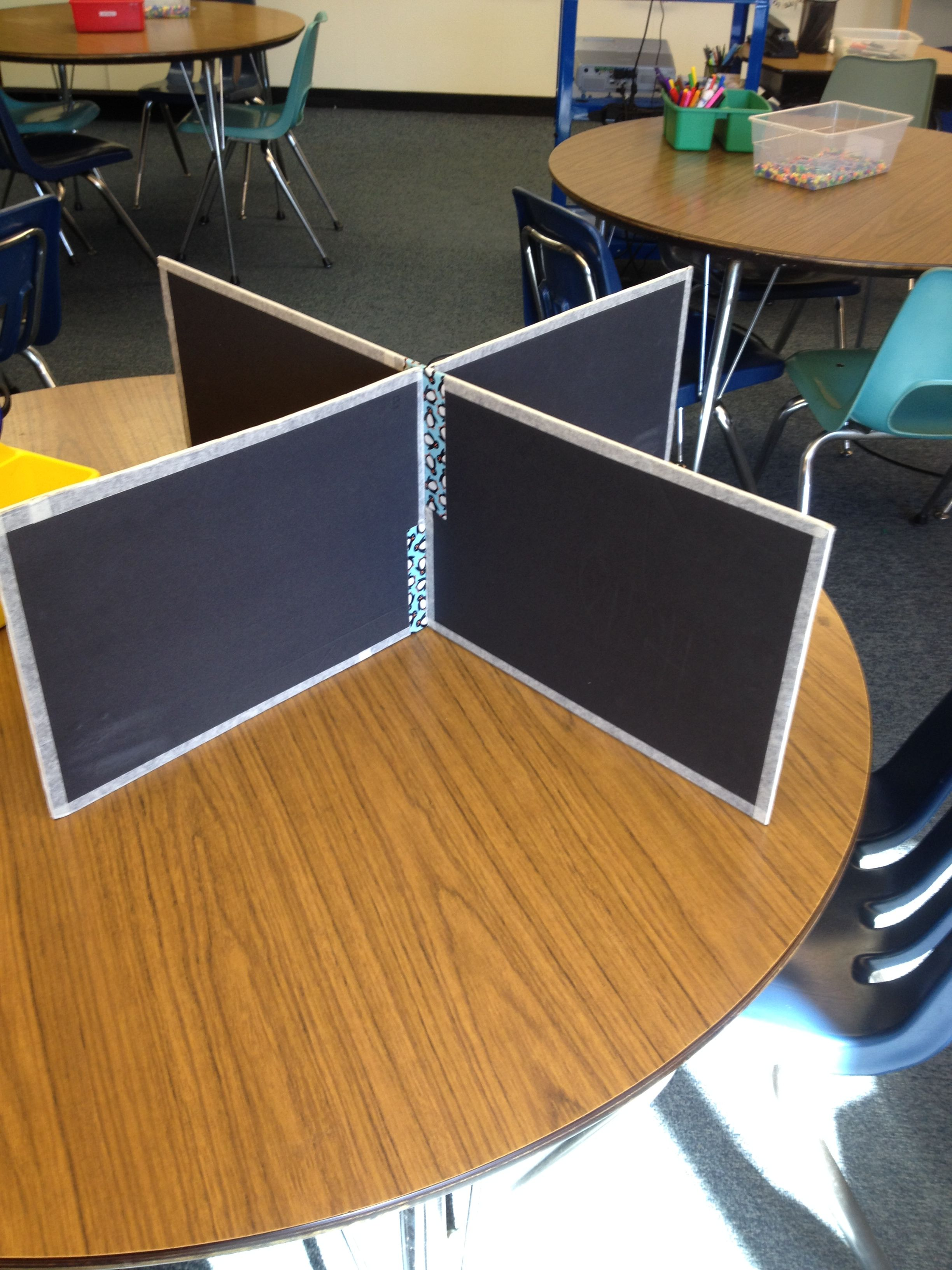 Classroom Table Dividers Made From Dollar Store Materials Works Great For Testing Classroom Tables Classroom Arrangement Diy Classroom