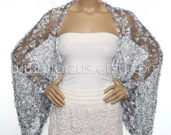 Wedding Shrug Knit Silver Shrug Cover Ups Shawls Wraps Long Sleeve