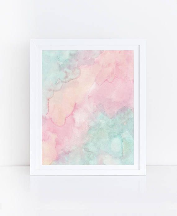 Pastel Watercolor Print Pastel Prints Mint Green And Pink Wall