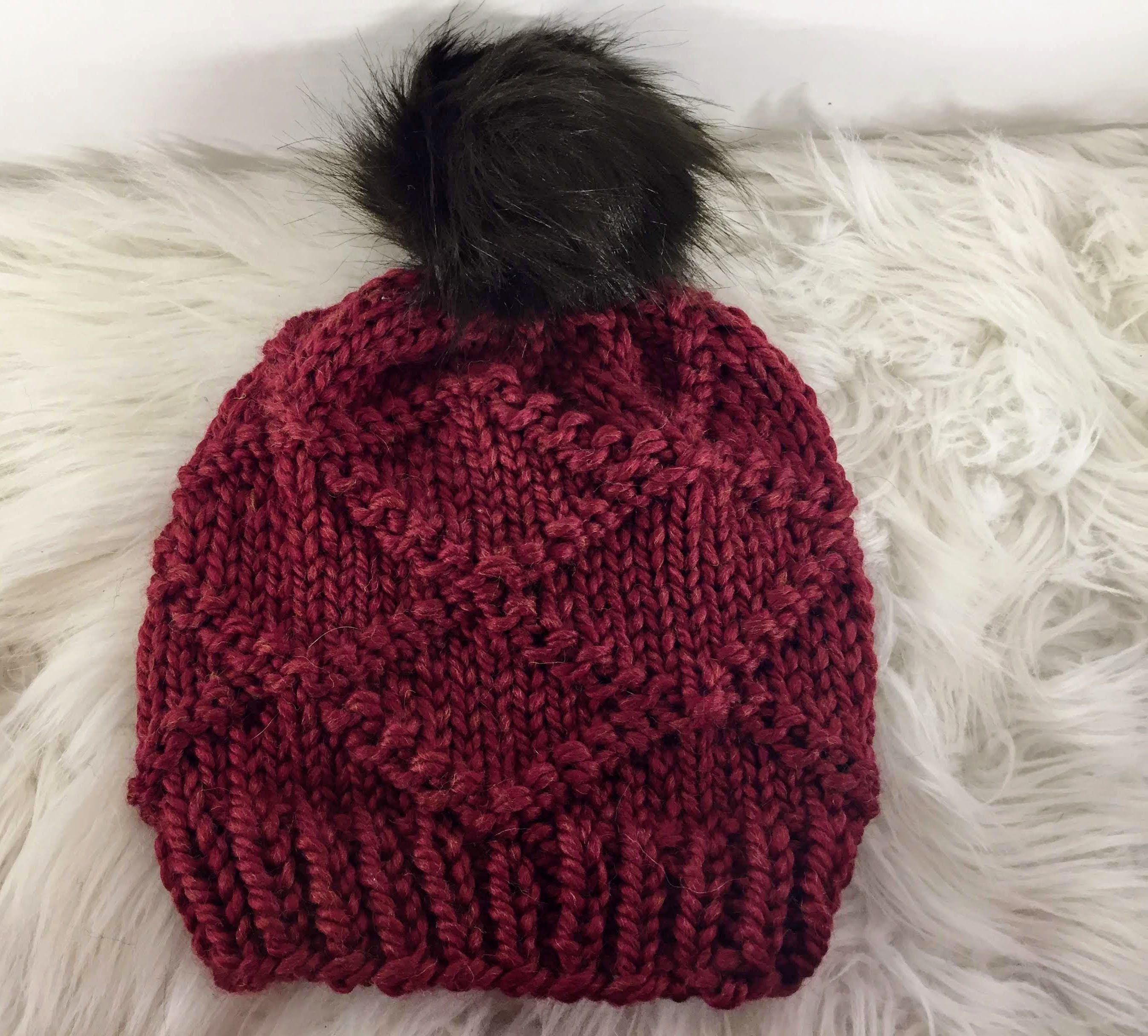 The Diamond Knit Pom Hat