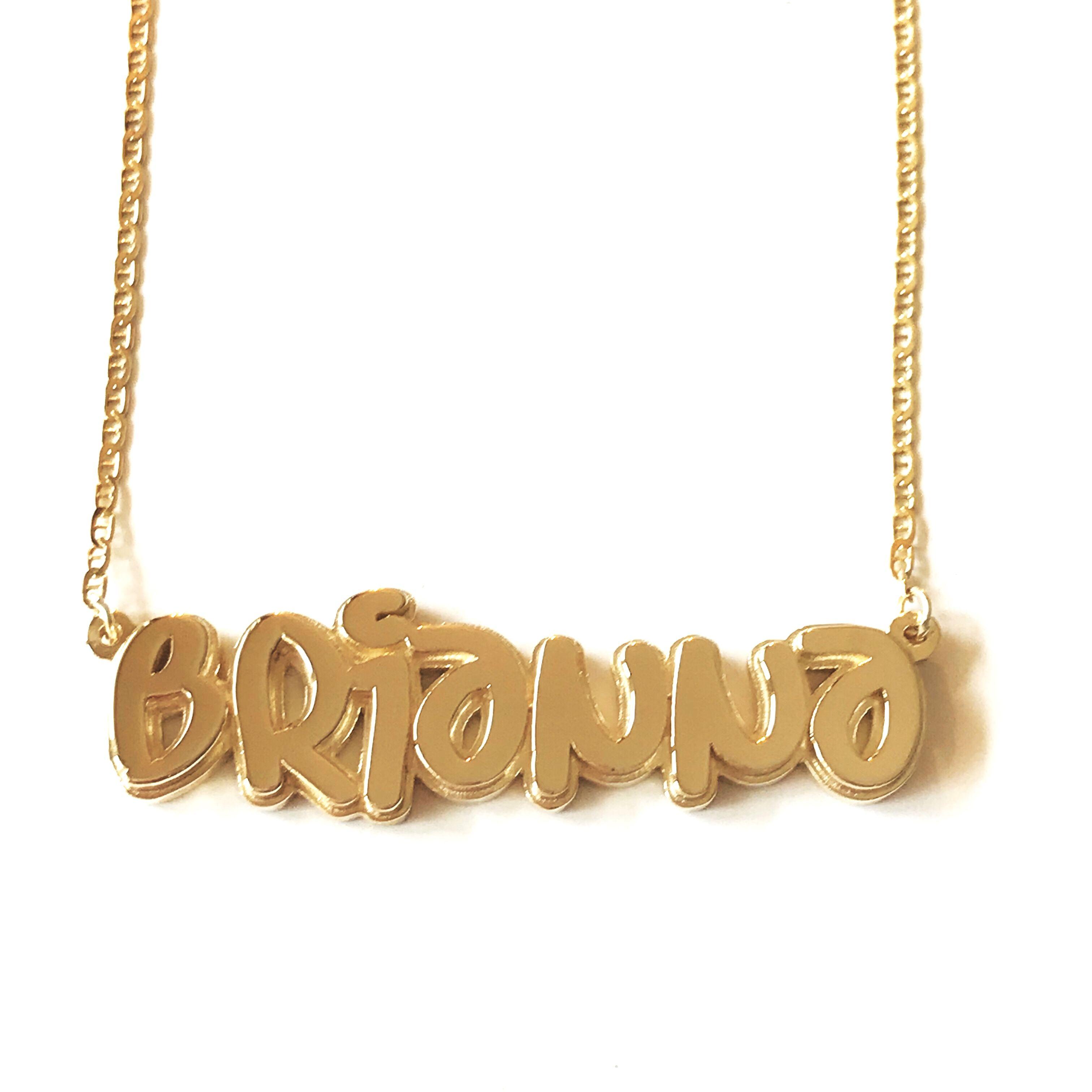 14k gold 3d graffiti nameplate namenecklace necklace. Black Bedroom Furniture Sets. Home Design Ideas