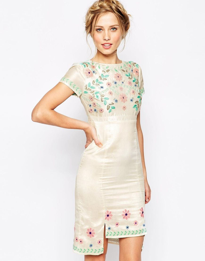 Frock and frill d floral embroidered pencil dress with stepped hem