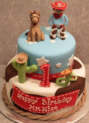 Cowboy Birthday Cowboy cake for a first birthday party All