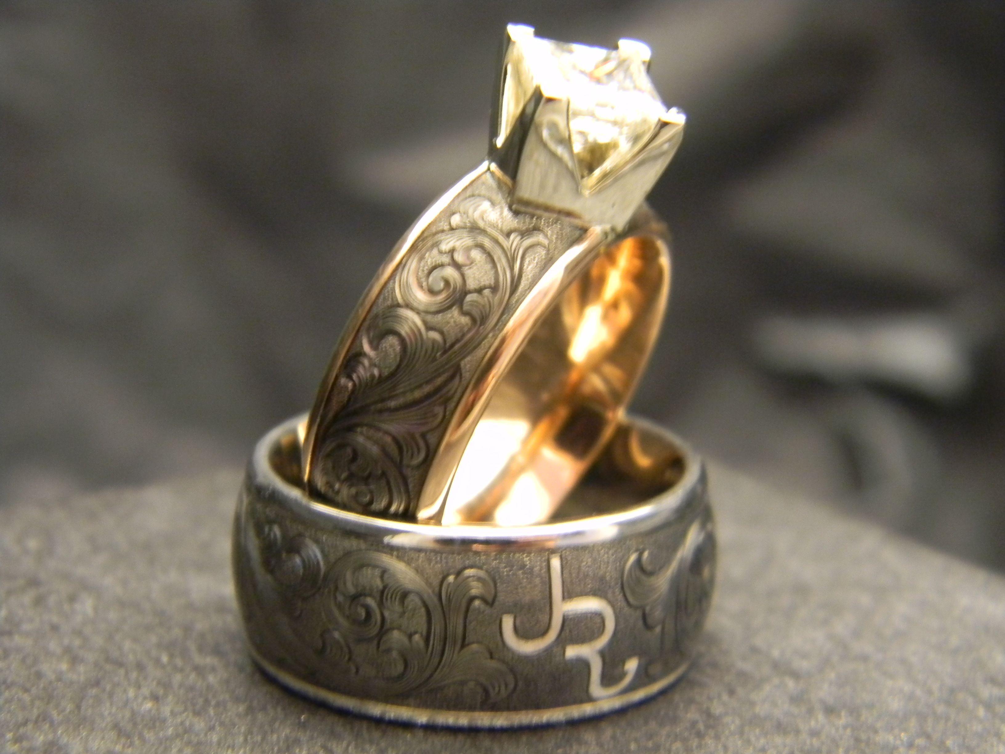 Men's 10mm Titanium engraved ring with JHook engraving