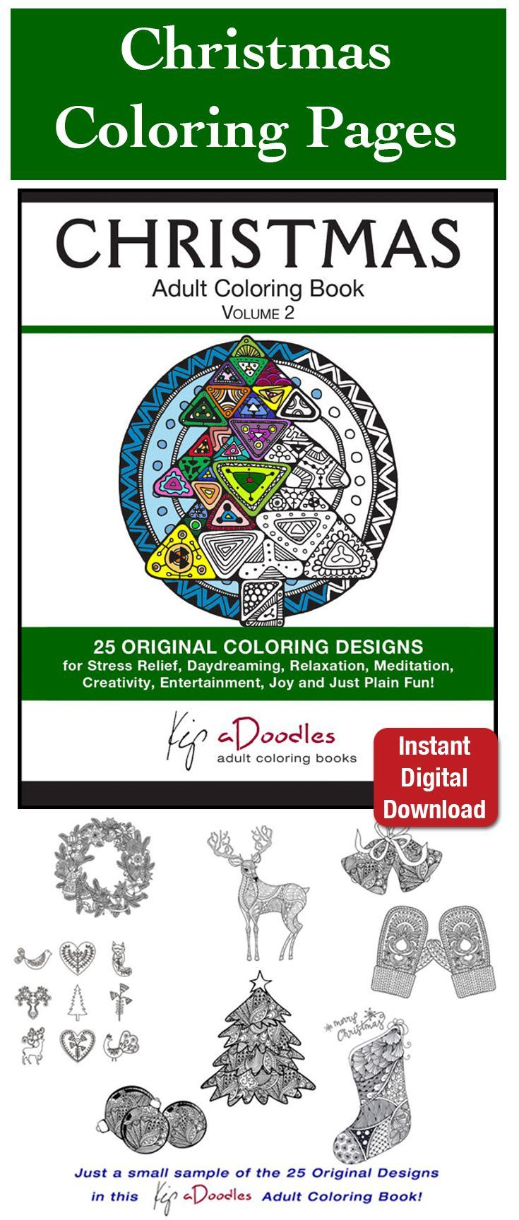Relieve Christmas stress with Christmas coloring pages. 25 original ...