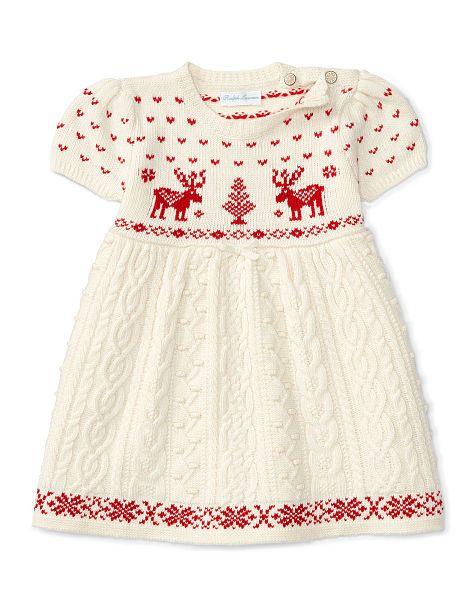f1308ed21 Reindeer Cable Sweater Dress - Baby Girl Dresses - RalphLauren.com ...